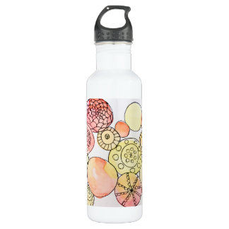 Abstract Orange Yellow Watercolor Circles Doodles 710 Ml Water Bottle
