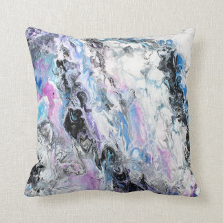 Abstract Original Painting Purple Blue Black Paint Throw Pillow