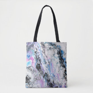 Abstract Original Painting Purple Blue Black Paint Tote Bag