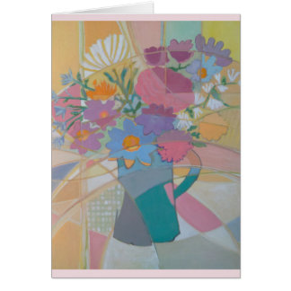 Abstract Original Vase of Flowers Greeting Card