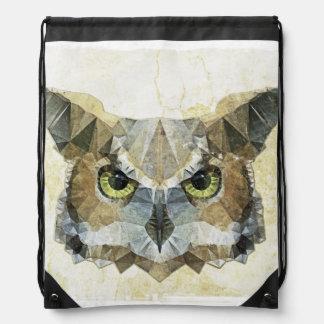 abstract owl drawstring bag
