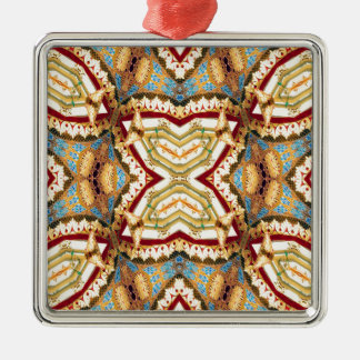 Abstract Pagoda Pattern Silver-Colored Square Ornament
