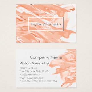 Abstract Paint Brush Strokes Coral Blush Business Card