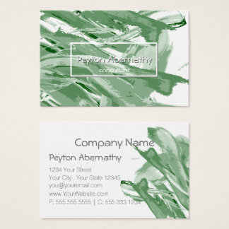 Abstract Paint Brush Strokes Muted Green Business Card