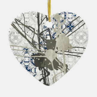 Abstract Paint On Pattern Ceramic Heart Ornament