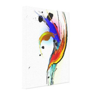 Abstract Paint Splatter Bird of Paradise Canvas Print