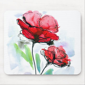 Abstract painted floral background mouse pad