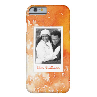 Abstract Painted Orange Watercolor | Add Photo Barely There iPhone 6 Case