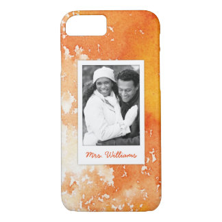 Abstract Painted Orange Watercolor | Add Photo iPhone 8/7 Case