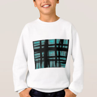 Abstract Painted Turquoise Plaid Sweatshirt