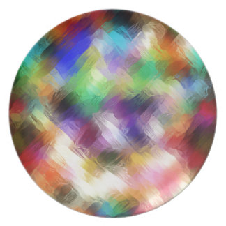 Abstract Painterly Spectrum Dinner Plates