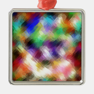 Abstract Painterly Spectrum Metal Ornament