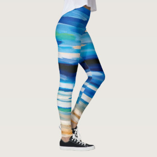 Abstract painting beach scene leggings