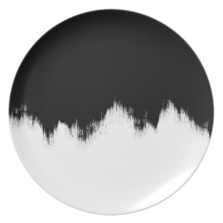 Abstract Painting Black and White Melamine Plate