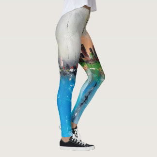 Abstract painting city scene leggings