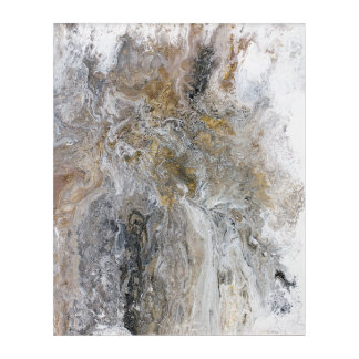 Abstract Painting Grey Black Gold White Artwork Acrylic Wall Art