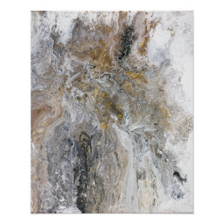 Abstract Painting Grey Black Gold White Artwork Poster