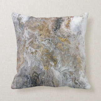 Abstract Painting Grey Black Gold White Artwork Throw Pillow