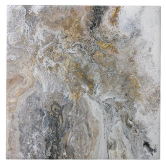 Abstract Painting Grey Black Gold White Artwork Tile