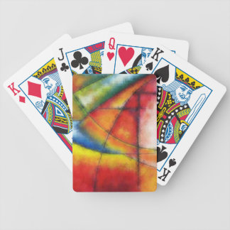 abstract painting red yellow green blue bicycle playing cards