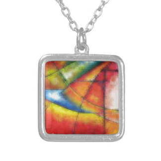 abstract painting red yellow green blue silver plated necklace