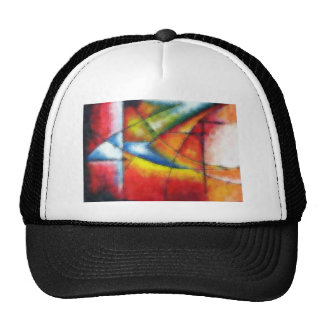 abstract painting red yellow green blue trucker hat
