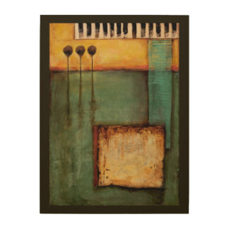 Abstract Painting with Piano Keys Wood Wall Art