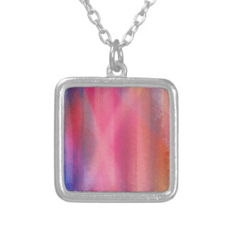 Abstract paints silver plated necklace