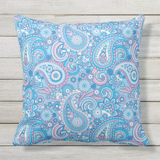 Abstract Paisley Floral Design Throw Pillow
