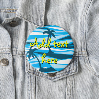 Abstract palm trees 4 inch round button