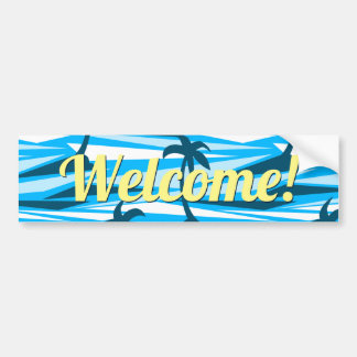 Abstract palm trees bumper sticker