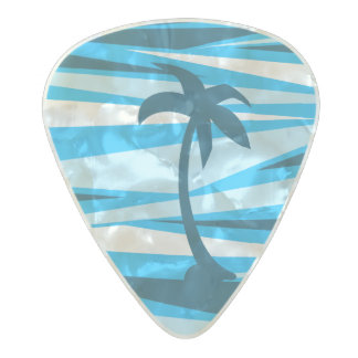 Abstract palm trees pearl celluloid guitar pick