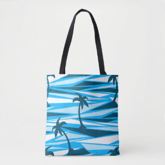 Abstract palm trees tote bag