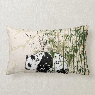 Abstract panda in bamboo forest lumbar pillow