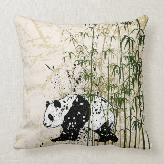 Abstract panda in bamboo forest throw pillow