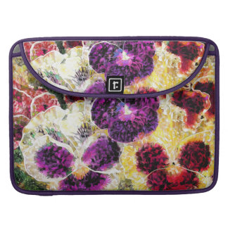 Abstract Pansies Flowers Macbook Computer Sleeve