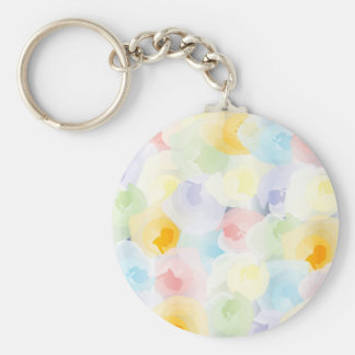 Abstract Pastel Floral Basic Round Button Keychain