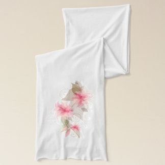 Abstract Pastel Pink Flowers Scarf