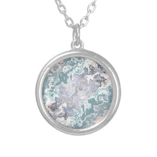 Abstract Pastels Pattern Silver Plated Necklace