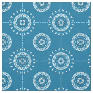 Abstract patchwork mandala in light and dark blues fabric