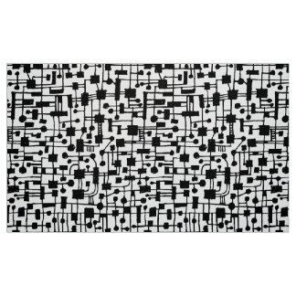Abstract Pattern 020517 - Black on White Fabric