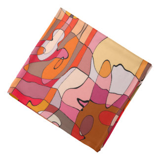 Abstract Pattern Artistic Red Brown Contours Bandana