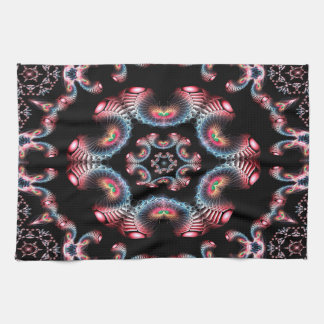 Abstract Pattern Black Pink And Blue Tile Kitchen Towel