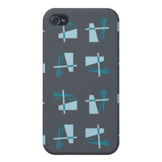 Abstract Pattern blue grey iPhone 4 Cases