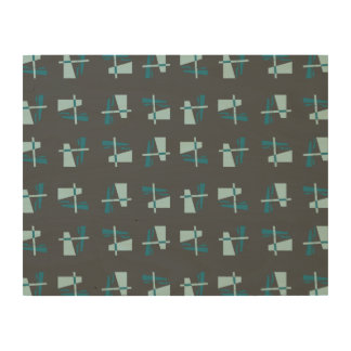 Abstract Pattern blue grey Wood Print