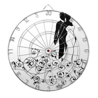 Abstract Pattern Bride and Groom Wedding Silhouett Dartboard