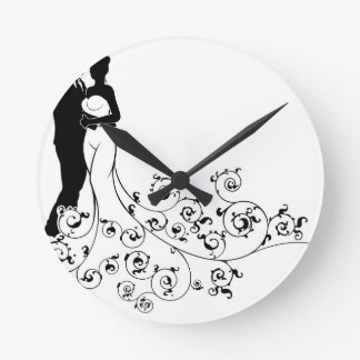 Abstract Pattern Bride and Groom Wedding Silhouett Wall Clock