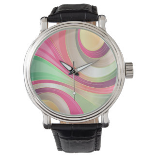 Abstract Pattern Colorful Waves Background Wrist Watches