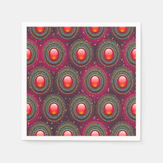 Abstract Pattern Concentric Circles Purple And Pin Disposable Napkins