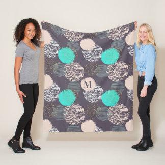 Abstract Pattern custom monogram fleece blanket